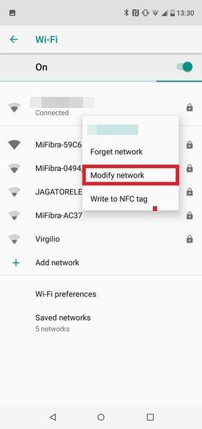 Pulsa unos segundos la red Wi-Fi usada