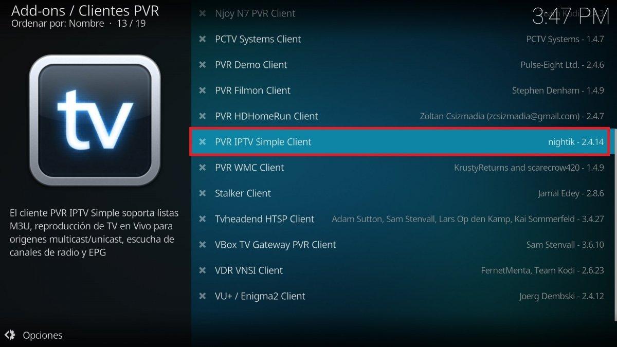 PVR IPTV Simple Client entre todos lso clientes PVR de Kodi