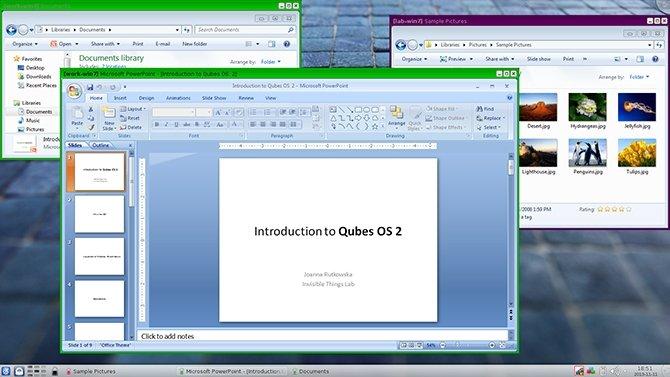 Qubes OS ejecutando instancias de Windows en una máquina virtual