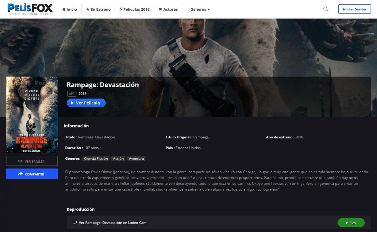 Rampage está disponible para ver en PelisFox