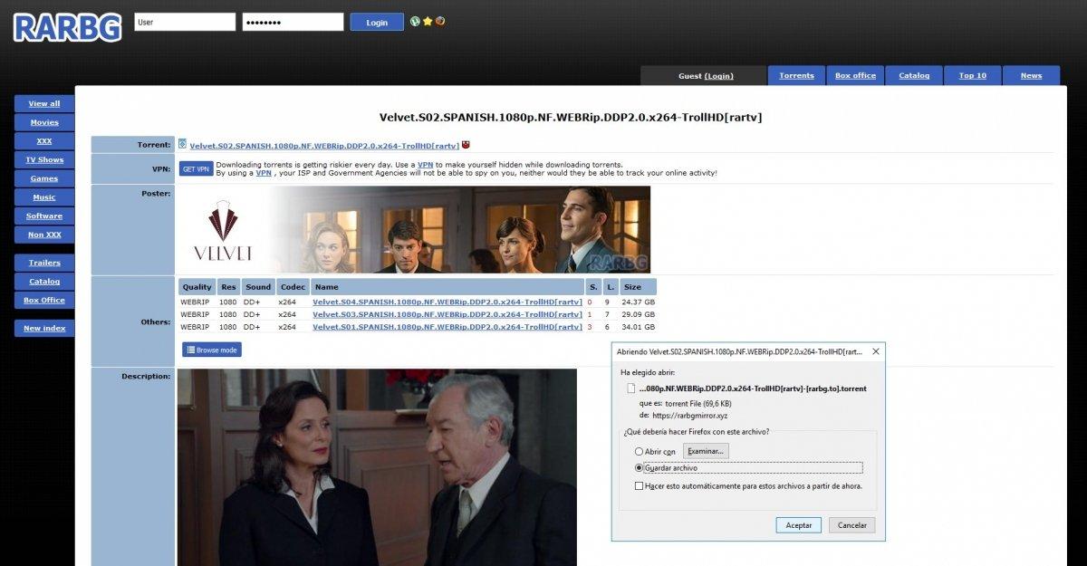RARBG ofrece bastante contenido en español