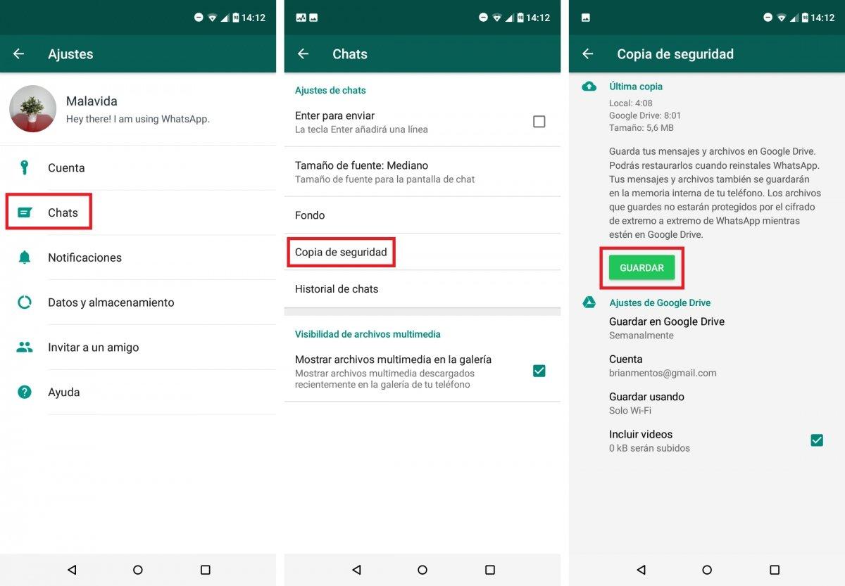 Realizar copia de seguridad de WhatsApp y almacenarla