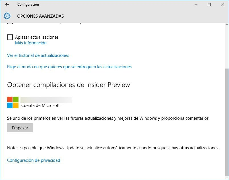 Recibir compilaciones de Windows Insider Preview