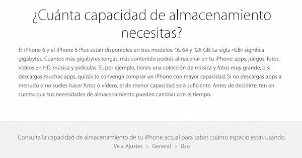 Recomendación de capacidad necesaria por Apple