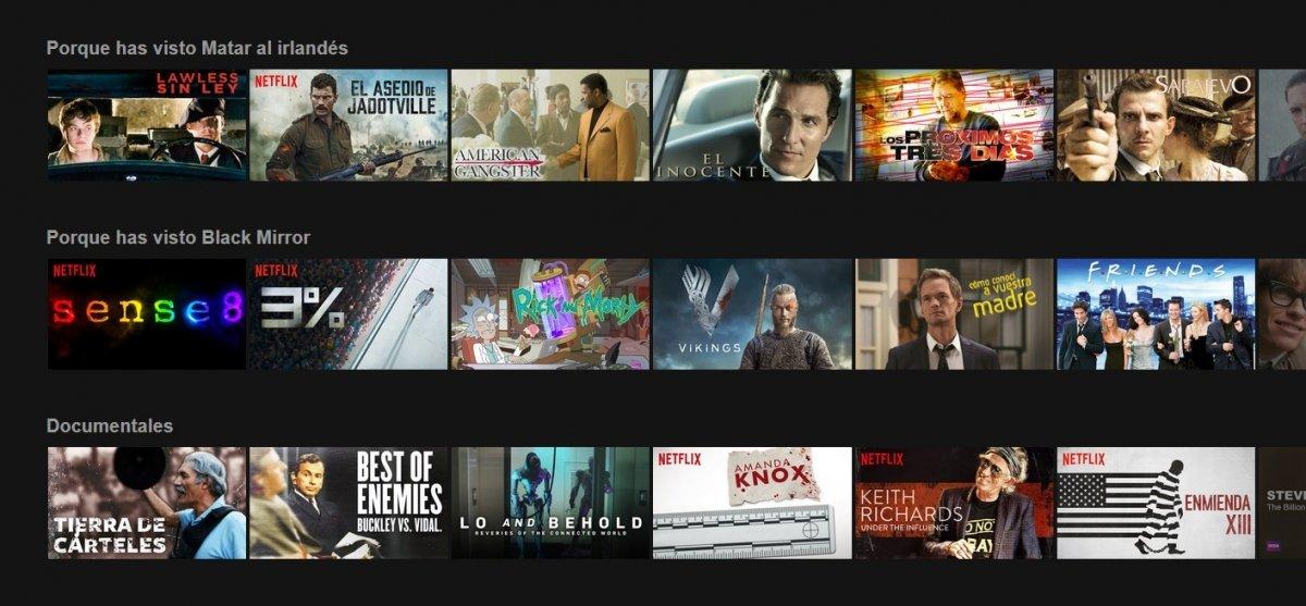 Recomendaciones de Netflix según lo que se ha visto
