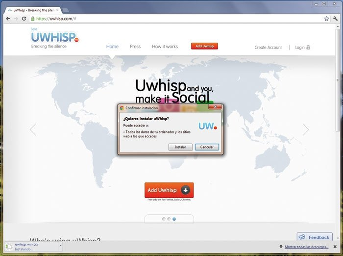 Redes sociales uWhisp 1