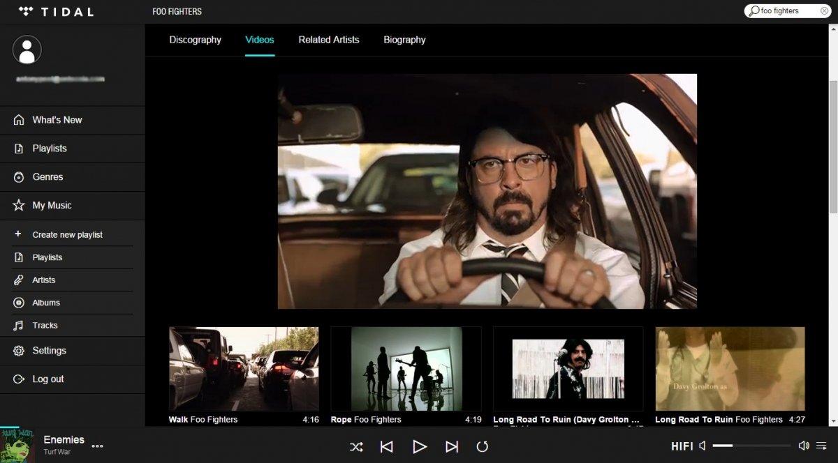 Reproducción de vídeo en TIDAL
