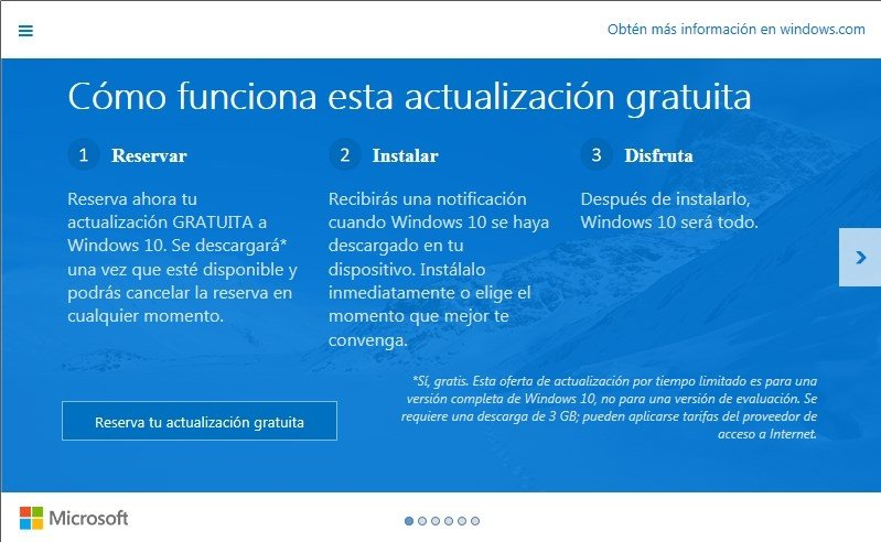 Reserva de la actualización de Windows 7 y Windows 8.1 a Windows 10