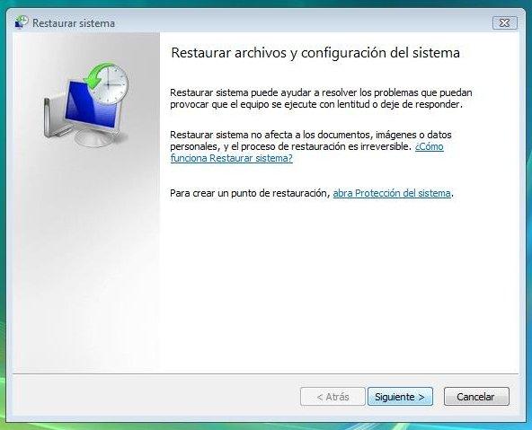 Restaurar archivos y configuración del sistema en Windows Vista