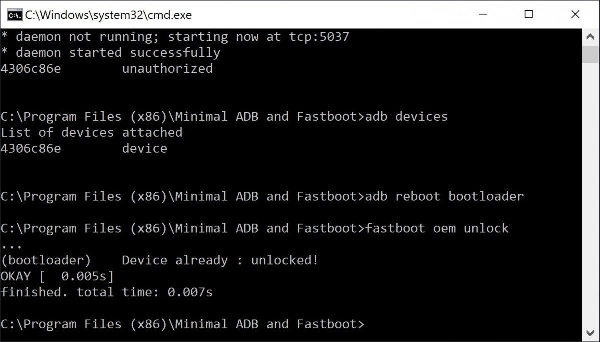 Resultado del comando adb reboot bootloader
