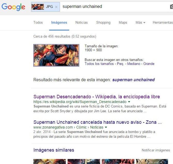 Resultados para una búsqueda inversa de imagen: información, otros tamaños, búsquedas relevantes