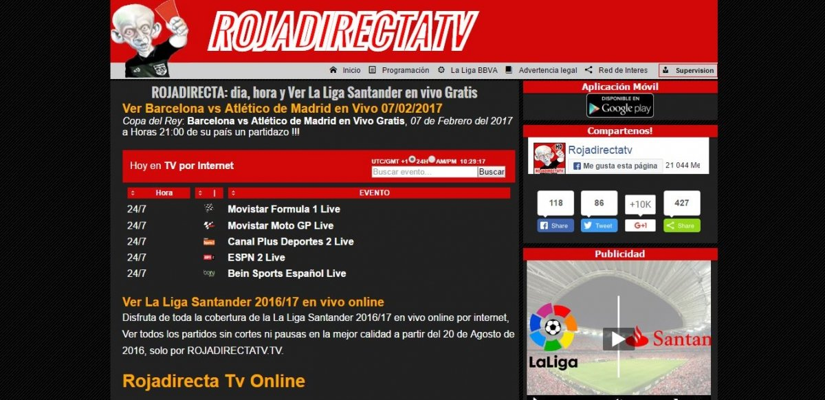 Rojadirecta funcionando sobre el dominio RojadirectaTV.tv