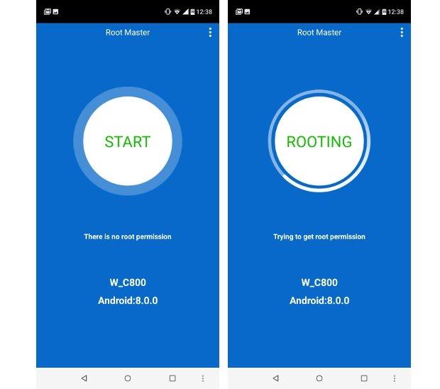 Root Master tratando de rootear un Android