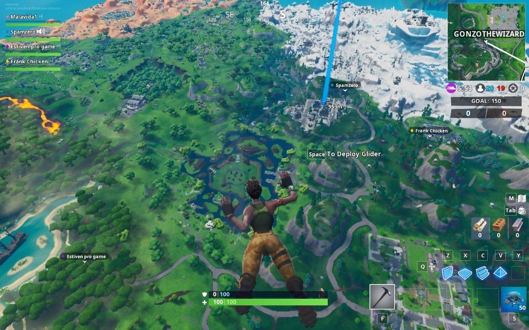 Salto sobre la isla de Fortnite en la versión para PC
