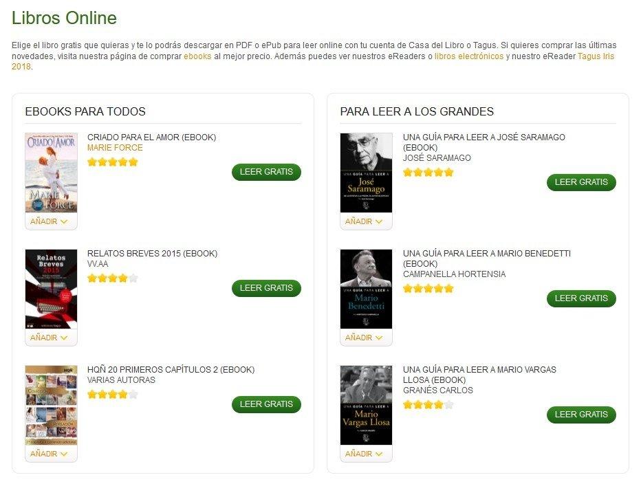 Sección de libros gratis de La Casa del Libro