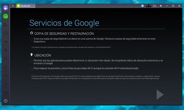 Sección de servicios de Google