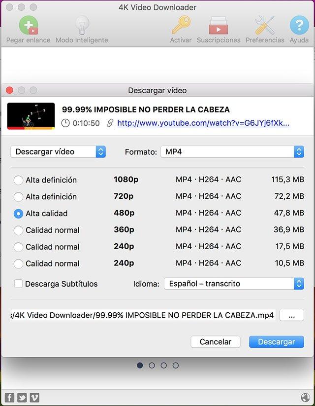 Selección de formato 4K Video Downloader
