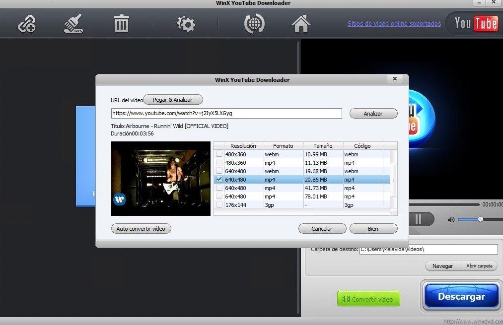 Selección de formato y calidad de vídeo en WinX YouTube Downloader