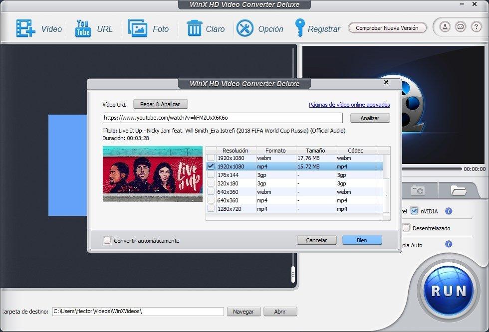 Selección del formato de descarga de un vídeo