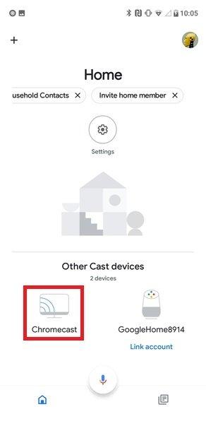 Selecciona tu Chromecast en Google Home