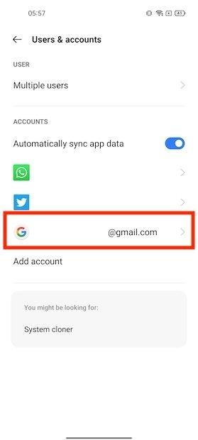 Seleccionar cuenta de Google en ajustes