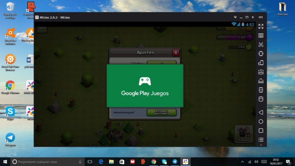 Sincronizando la cuenta de Google Play Juegos en Clash of Clans