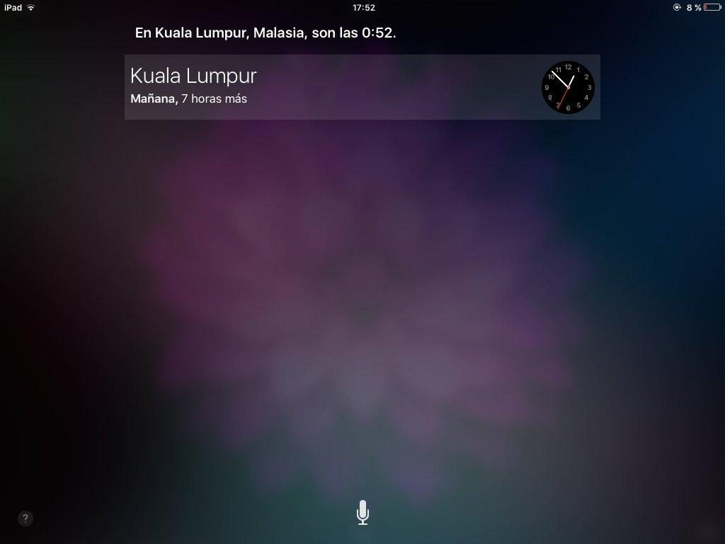 Siri, ¿qué hora es en Kuala Lumpur?