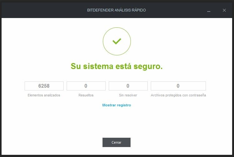 Sistema analizado y asegurado en Bitdefender Internet Security 2016