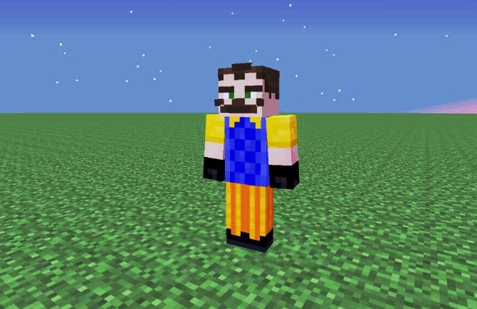 Skin del vecino en el MOD Hello NeighborCraft