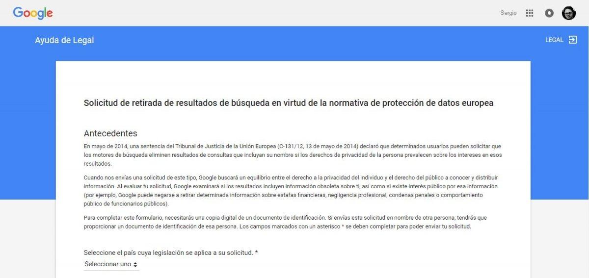 Solicitud para la retirada de datos en Google