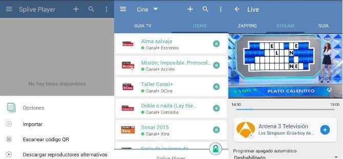 Splive, cliente de televisión online para añadir paquetes de canales