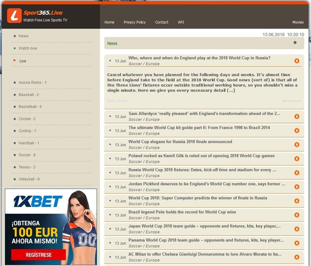Sport365 emite de todo y tiene sección de noticias