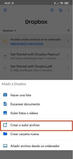 Subir un archivo a Dropbox