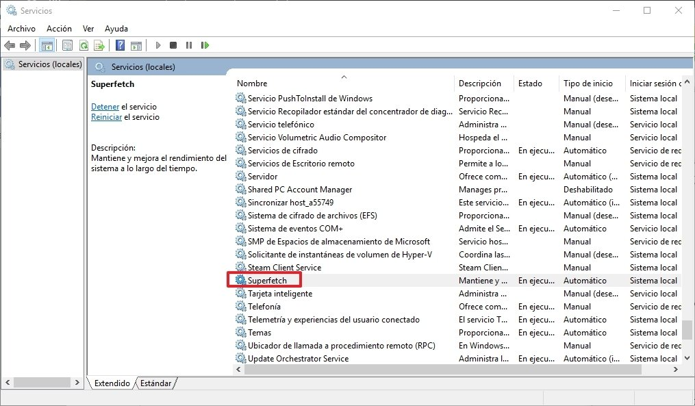 Superfetch en los servicios de Windows