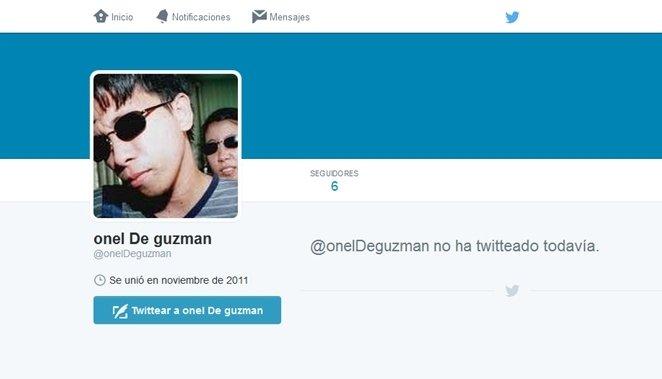Supuesta cuenta de Twitter de Onel de Guzmán, en la que aparece su foto