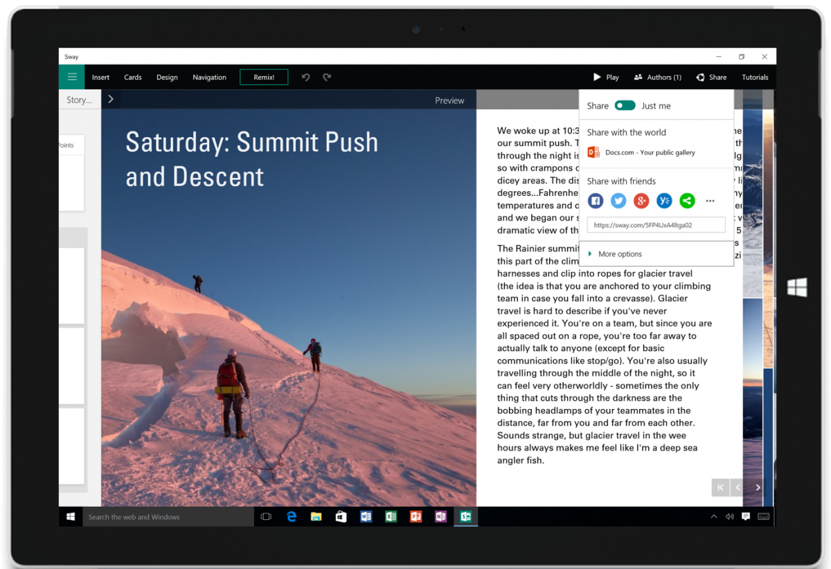 Sway en acción en una tableta con Windows 10