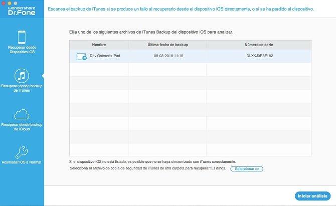 También puedes recuperar archivos de una copia de seguridad de iTunes
