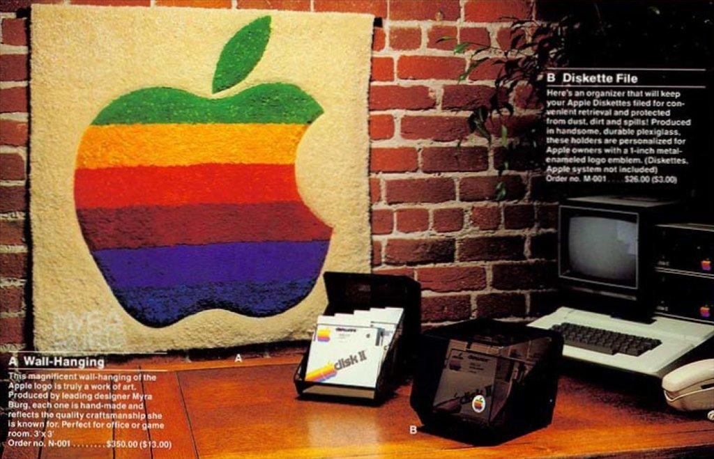 Tapiz bordado a mano con el logo de Apple de 1983