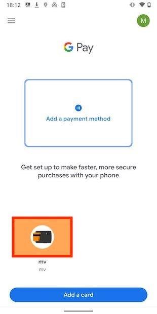 Tarjeta en Google Pay con el certificado