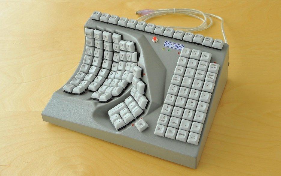 Teclado Maltron 3D a una mano en gris