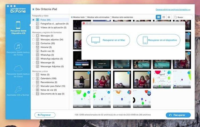 Tercer paso: escoge los archivos y restáuralos al dispositivo iOS o guárdalos en tu ordenador