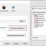 Activa la sincronización selectiva en Dropbox