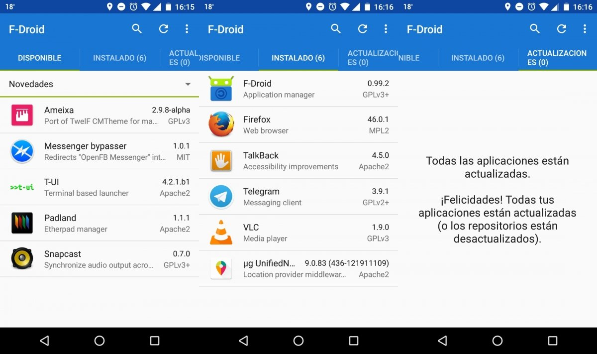 Tienda de apps F-Droid, especializada en Software Libre