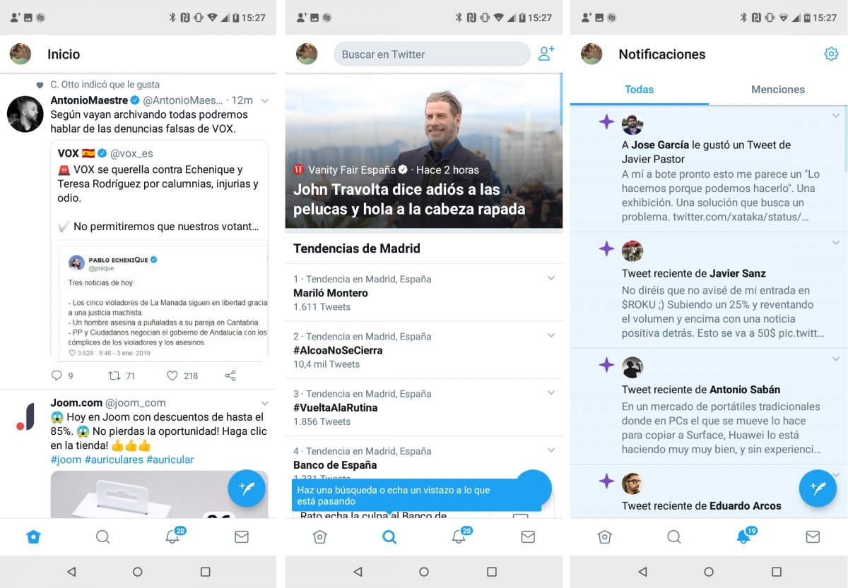 Timeline, suggestions and Twitter notifications