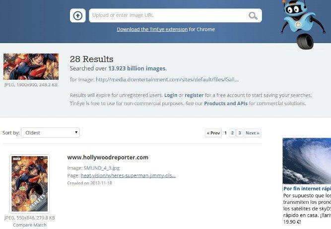 TinEye: búsquedas rápidas para rastrear el origen en la red