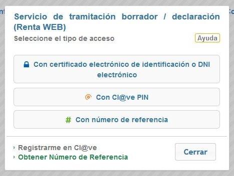 Tipos de acceso e identificación de Renta WEB