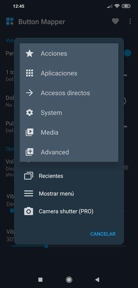 Todas las configuraciones disponibles para personalizar
