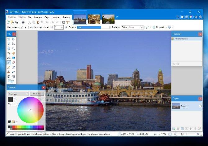 Todas las imágenes que vayas abriendo aparecerán en miniatura en la parte superior para acceder cómo