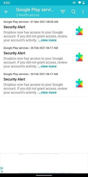 Todas las notificaciones de una app