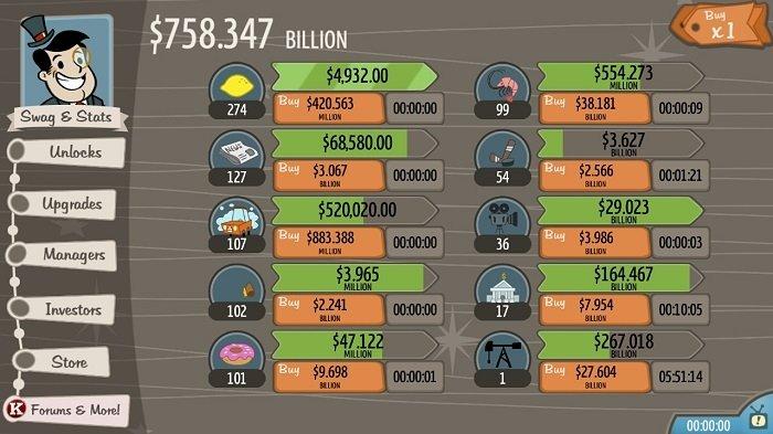 Todos los negocios en marcha en el juego AdVenture Capitalist